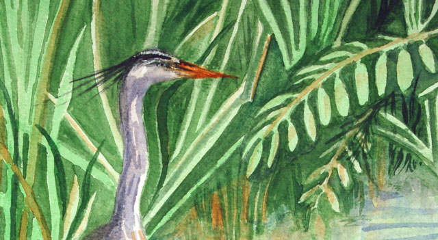 negative painting example - heron with waterside foliage