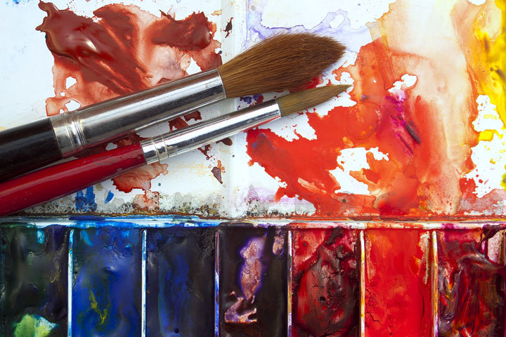 water paint colors and brushes